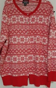Lands End red & white snowflake Cardigan 3X
